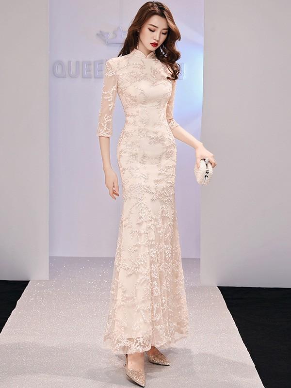 Champaign Fishtail Long Qipao / Cheongsam Evening Dress
