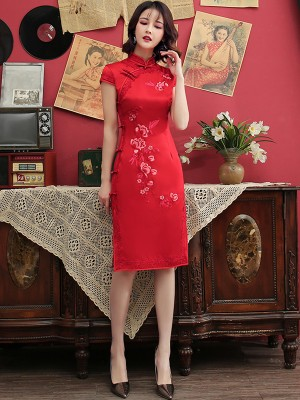 Red Embroidered Mid Qipao / Cheongsam Dress with Lace Trim