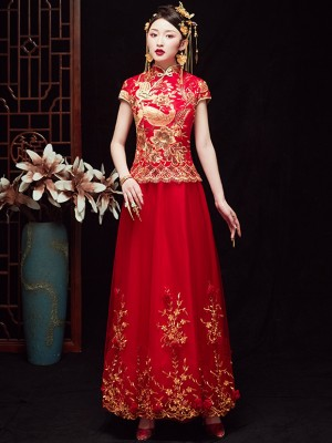 Sequined Embroidered Floral Wedding Qun Kwa with Tulle Skirt