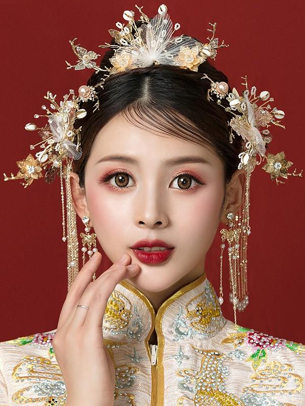 Gold Tone Traditional Chinese Bridal Chain Hair Vine - CozyLadyWear