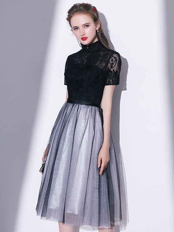Black Gray A-Line Tulle Qipao / Cheongsam Party Dress