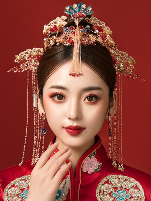 Chinese Traditional Dangling Bridal Hair Clips & Earrings