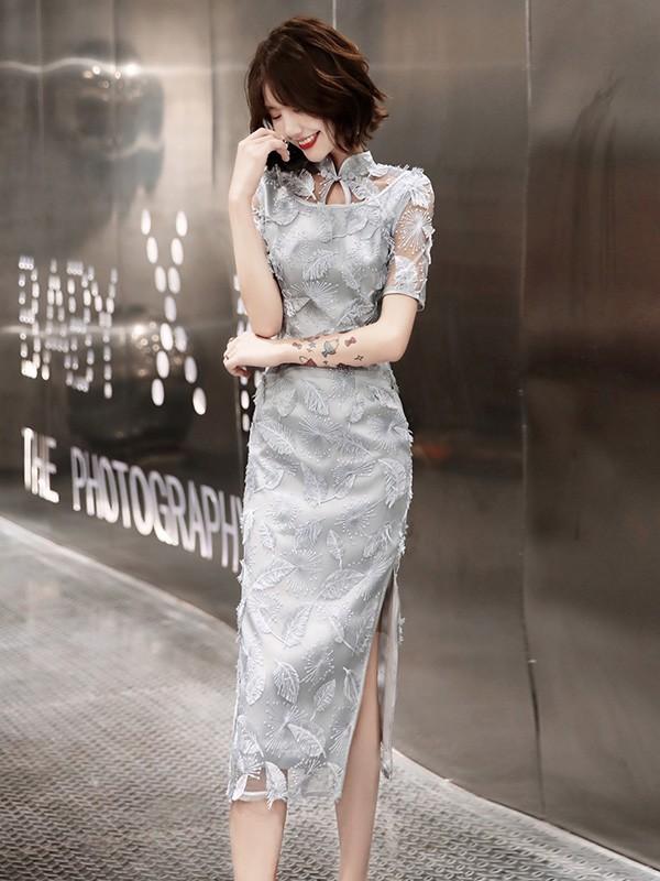 Gray Lace Tea-Length Qipao / Cheongsam Evening Dress