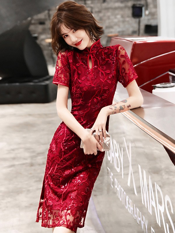 Wine Red Sequins Floral Qipao / Cheongsam Dress