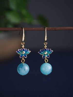 Blue Cloisonne Dangle Earrings, Clip On Pierced Earrings