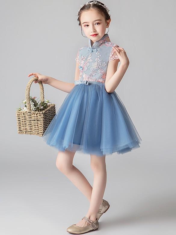 Blue Flower Girl's Tulle Cheongsam / Qipao Dress