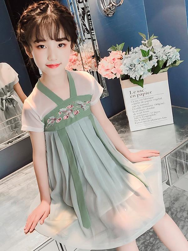 Kids Girl Chinese Belt Hanfu Dress