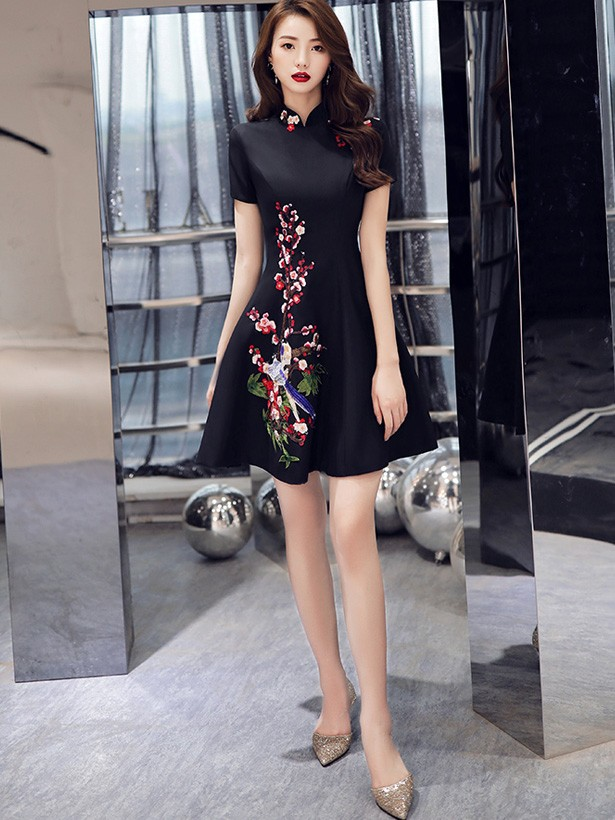 Black A-Line Qipao / Cheongsam Party Dress with Bird Embroidery