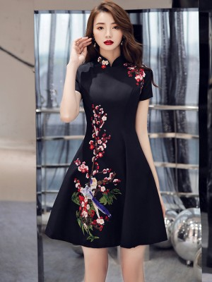 Black A-Line Floral Embroidered Qipao / Cheongsam Party Dress