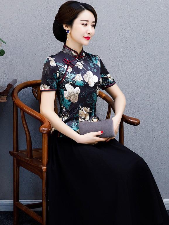 Black Floral Qipao / Cheongsam Blouse Top
