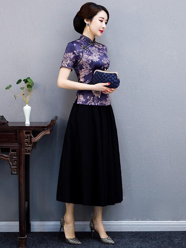 Purple Floral Qipao / Cheongsam Blouse Top