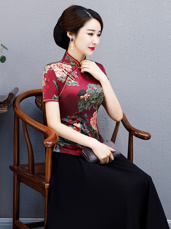 Red Floral Qipao / Cheongsam Blouse Top