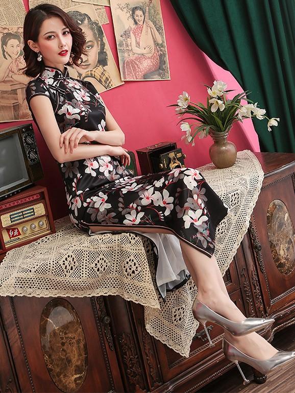 Black Floral Long Qipao / Cheongsam Party Dress