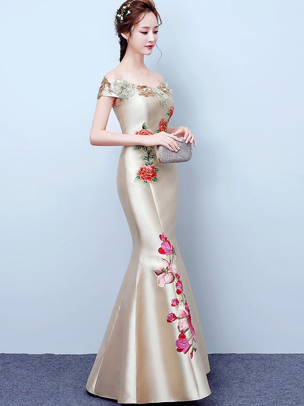 Champaign Embroidered Off Shoulder Fishtail Qipao / Cheongsam Dress