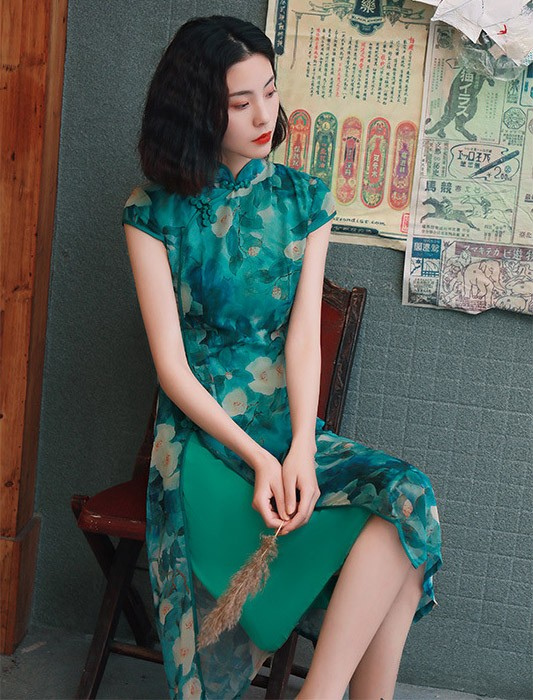 Green Floral Chiffon A-Line Midi Qipao / Cheongsam Dress