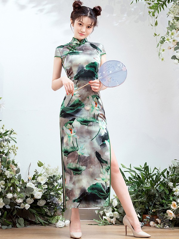 Printing Lotus Long Qipao / Cheongsam Dress