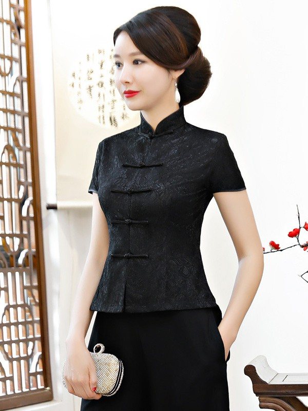 Black Short Sleeve Qipao / Cheongsam Blouse Top
