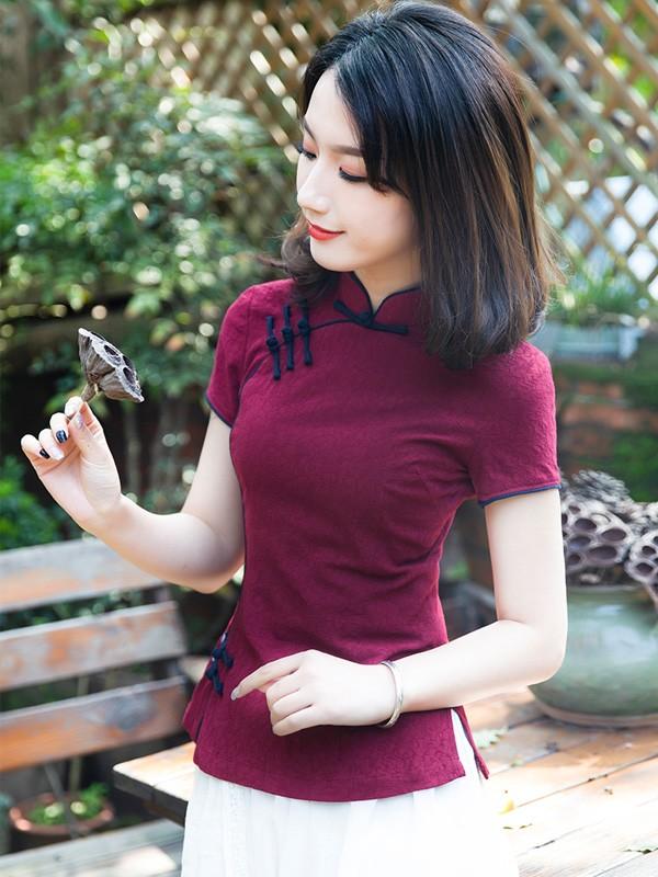 Red Woven Floral Linen Qipao / Cheongsam Top