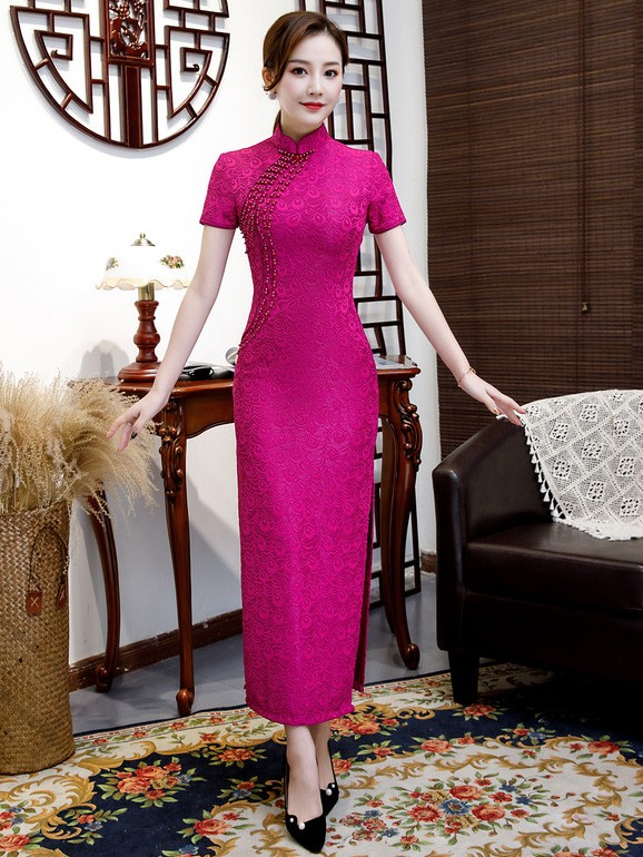 Fuchsia Lace Long Split Qipao / Cheongsam Dress with Beads