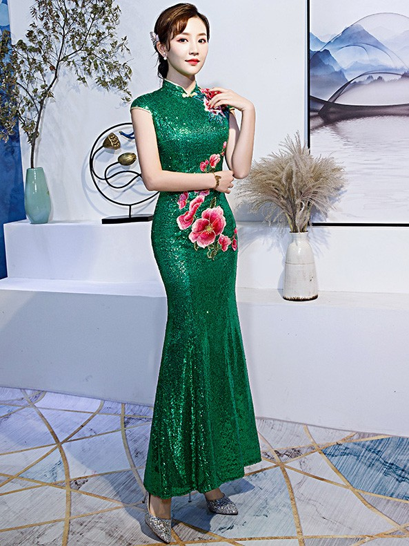 Green Sequined Embroidered Mermaid Qipao / Cheongsam Dress