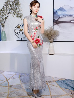 Silver Gray Sequined Embroidered Mermaid Qipao / Cheongsam Dress