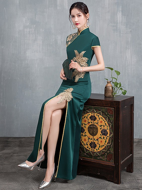 Olive Green Beaded Split Front Long Qipao / Cheongsam Dress