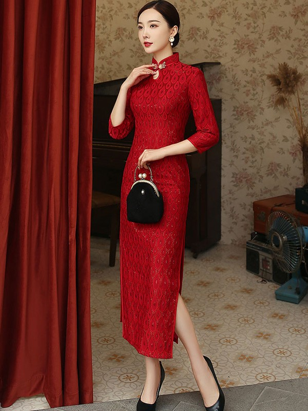 Shimmering Red Lace Long Split Wedding Qipao / Cheongsam Dress