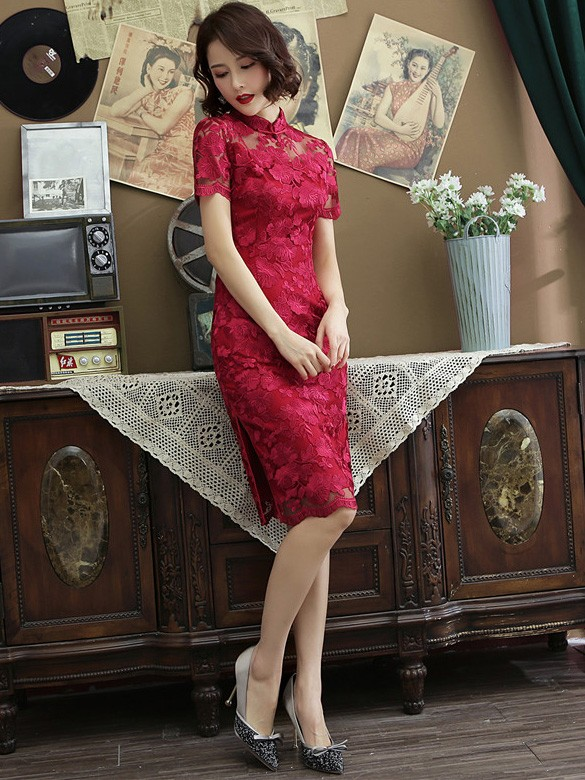 Wine Red Lace Midi Qipao / Cheongsam Dress