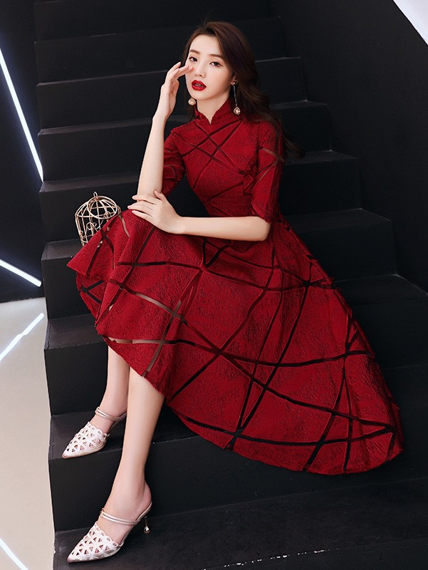 Wine Red A-Line Wedding Qipao / Cheongsam Dress