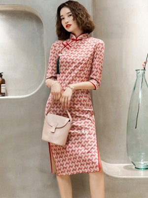 Micro Suede Red Striped Midi Qipao / Cheongsam Dress
