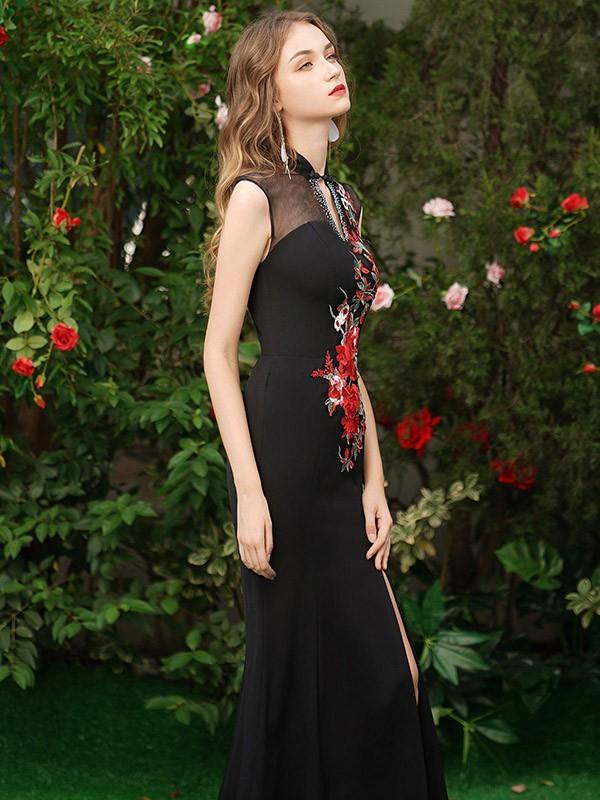 Black Embroidered Thigh Split Qipao / Cheongsam Evening Dress