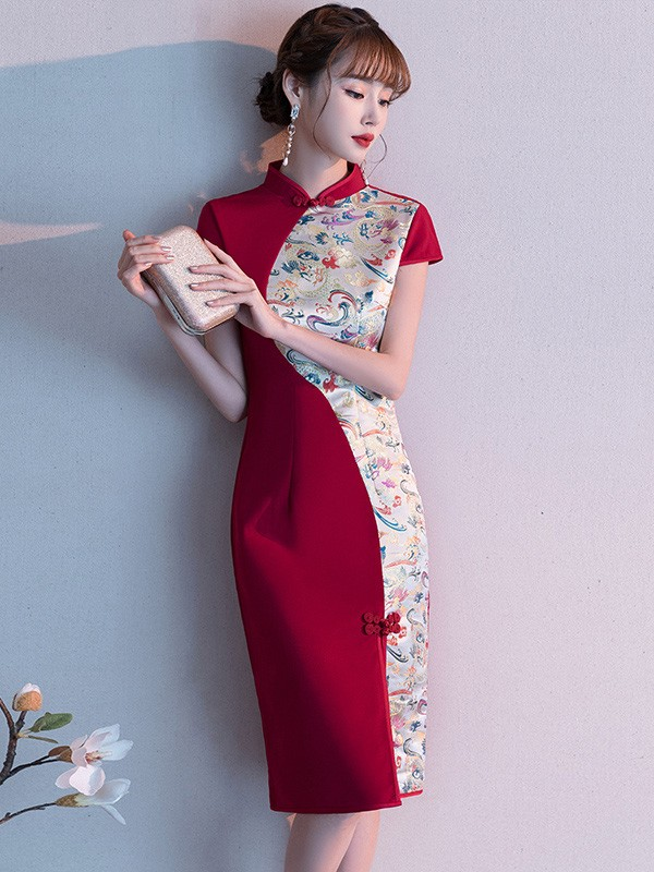 Colorblock Short Qipao / Wedding Cheongsam Dress with Front Slit