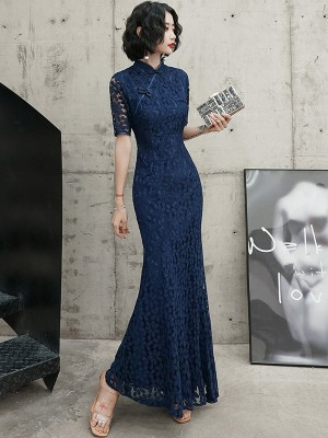 Navy Blue Lace Mermaid Long Qipao / Cheongsam Dress