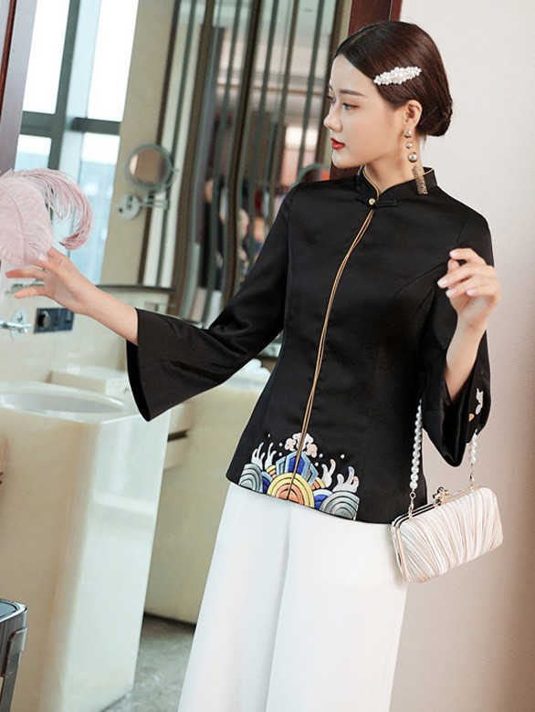 Black Embroidered Women Qipao Tang Jacket