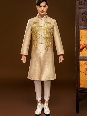 Golden Embroidered Dragon Chinese Men's Wedding Jacket Magua