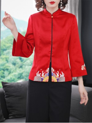 Red Embroidered Women Qipao Tang Jacket