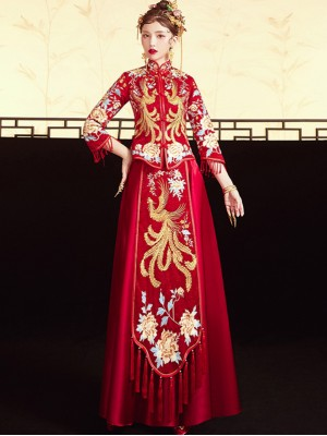 Red Shimmering Embroidered Phoenix Wedding Qun Kwa