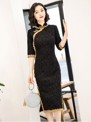 Black Lace Trim Half Sleeve Mid Cheongsam / Qipao Dress
