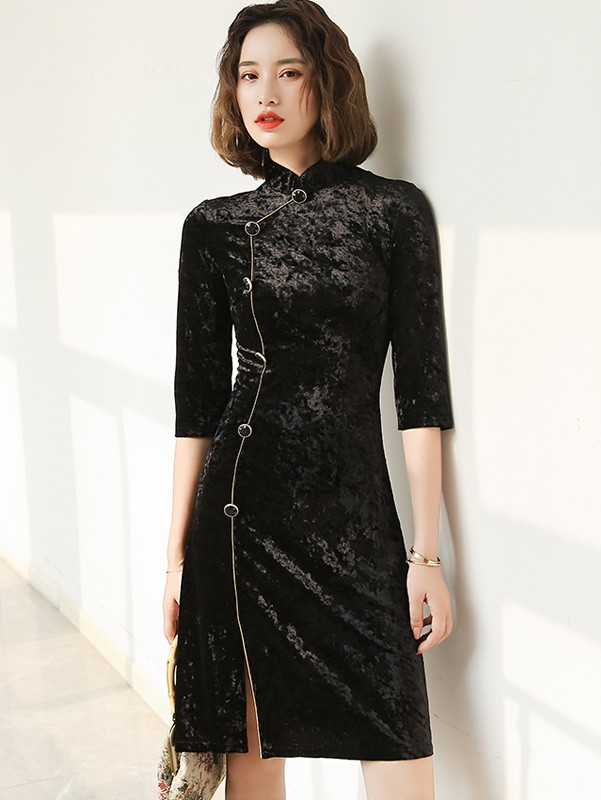 Black Velvet Half Sleeve Cheongsam / Winter Qipao Dress