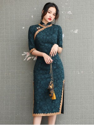 Green Lace Trim Half Sleeve Mid Cheongsam / Qipao Dress