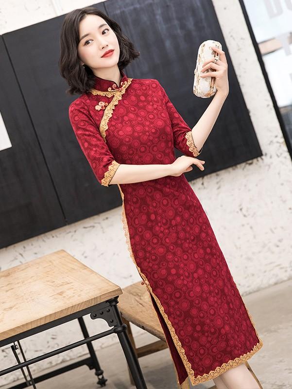 Red Lace Trim Half Sleeve Mid Cheongsam / Qipao Dress