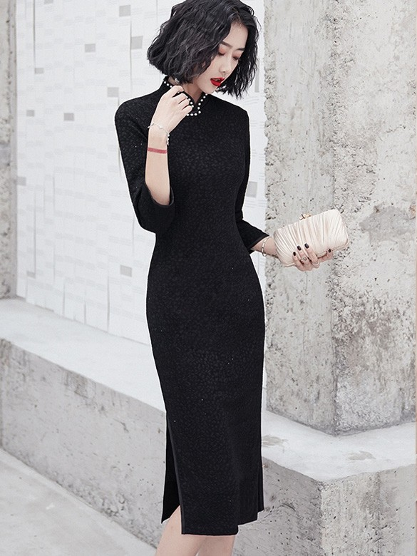 Pearl Black Winter Mid Winter Cheongsam / Qipao Dress