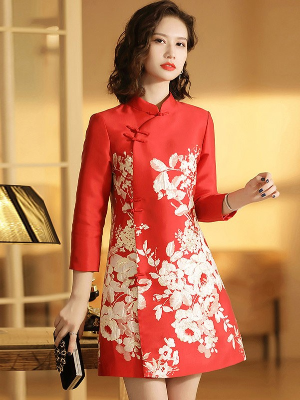 Red Pink Floral Winter Pocket Qipao / Cheongsam Dress