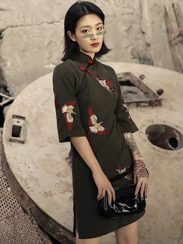 Olive Green Embroidered Phoenix Cheongsam / Winter Qipao Dress