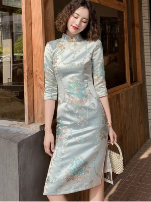 Woven Floral Mid Winter Cheongsam / Qipao Dress