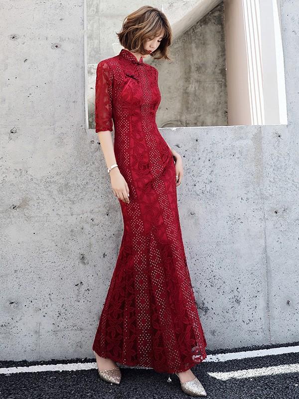 Wine Red Lace Mermaid Qipao / Wedding Cheongsam Dress