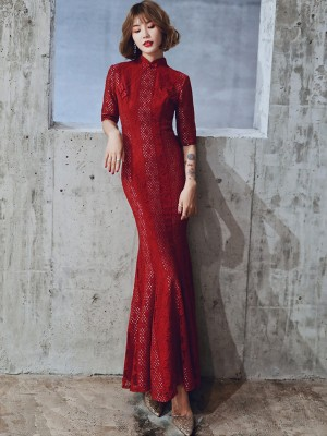 Wine Red Lace Mermaid Qipao / Wedding Cheongsam Dress