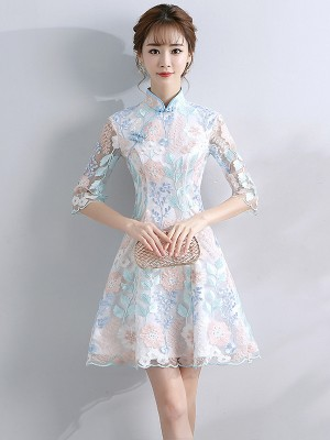Embroidered Overlay A-Line Qipao / Cheongsam Party Dress