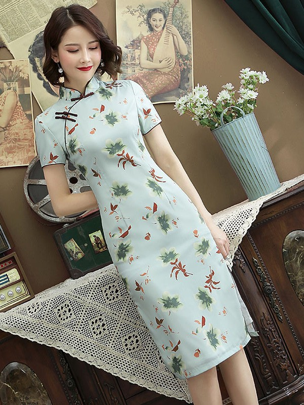 Green Floral Midi Qipao / Cheongsam Party Dress