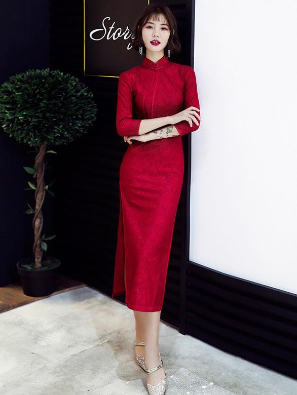 Wine Red Lace Long Sleeve Qipao / Wedding Cheongsam Dress